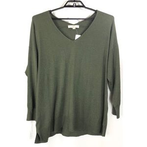 Loft Plus v neck olive long sleeve sweater 7597